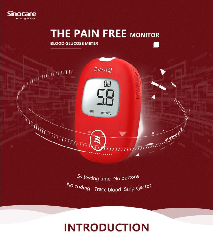 ISO 15197 Blood Glucose Testing Devices , Glucose Test Monitor 5 Seconds Test Time
