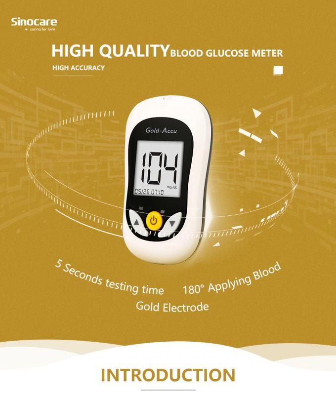 CV<6% Blood Sugar Level Test Kit 5s Test Time Wide Operation Temperature