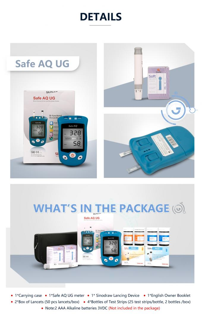 Safe UG  Big LCD Screen Blood Glucose & Uric Acid Level Testing Kit 3 AAA Battery Long Service Life