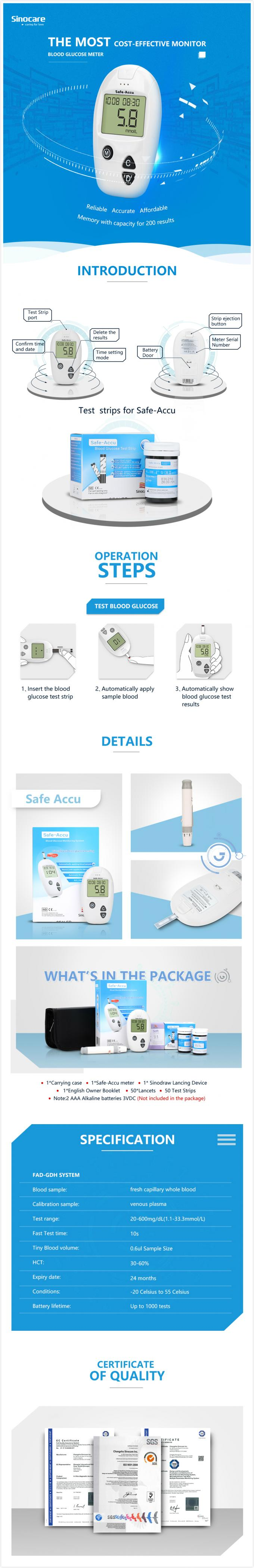 FAD-GDH Enzyme Diabetes Glucose Meter 5s Test Time With Tiny Blood Simple